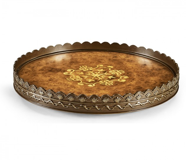 Large Circular Seaweed Marquetry Tray