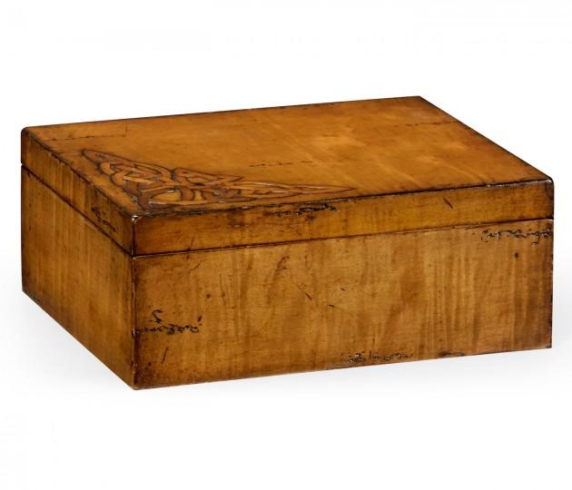 Raised celtic veneer rectangular box