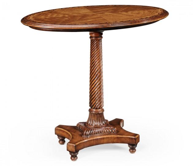 Walnut & Satinwood Oval Lamp Table