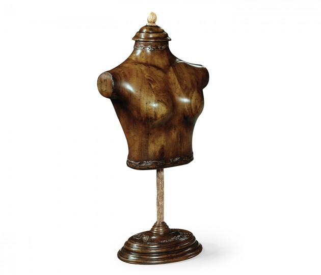 Large Female Wooden Mannequin & Torso on Stand