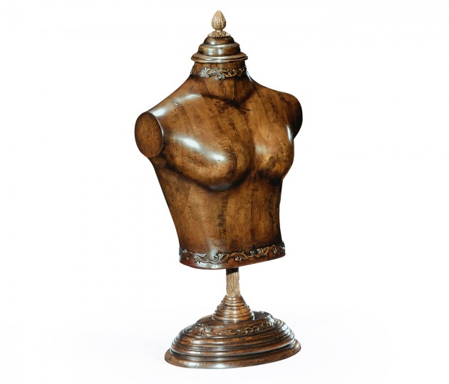 Small Female Wooden Mannequin & Torso on Stand