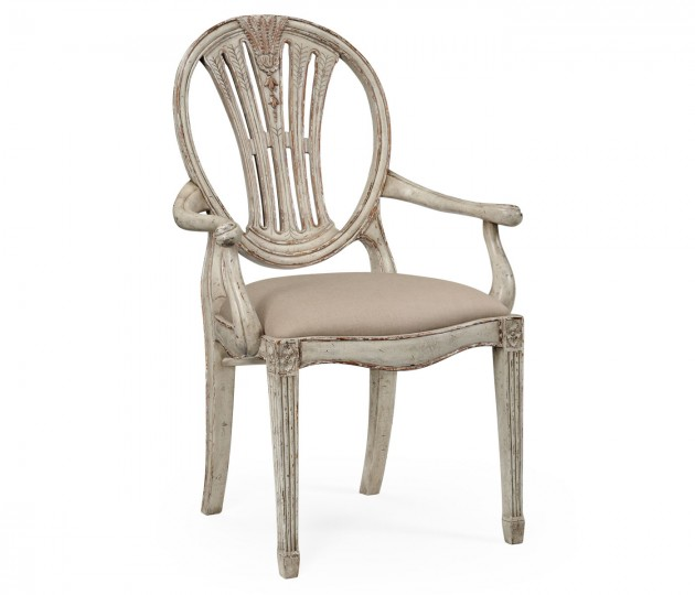 Hepplewhite Wheatsheaf Arm Chair (Grey)