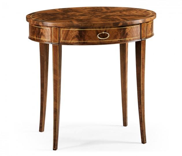 Oval mahogany lamp table