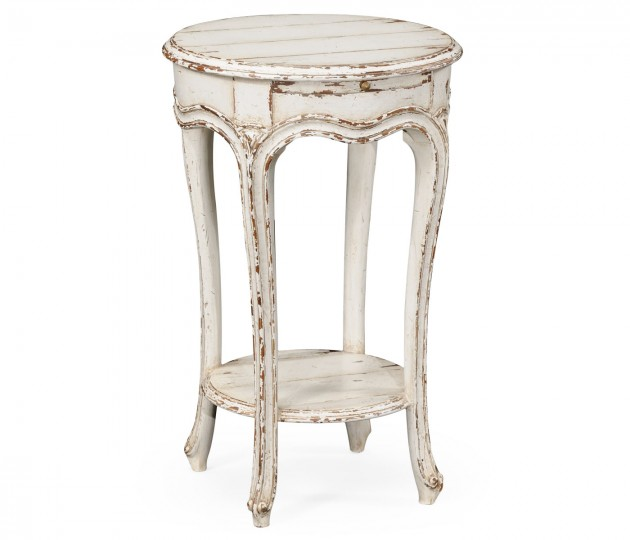 French Small Round Lamp Table (White)