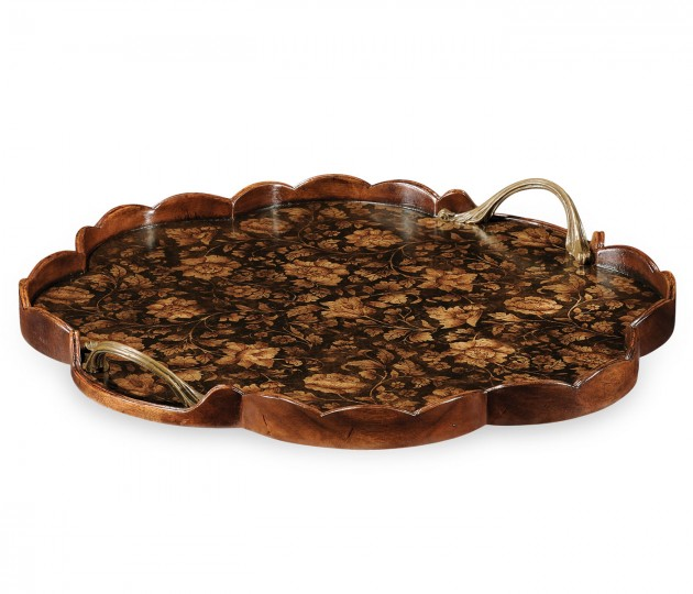 Scalloped Black Chinoiserie Tray