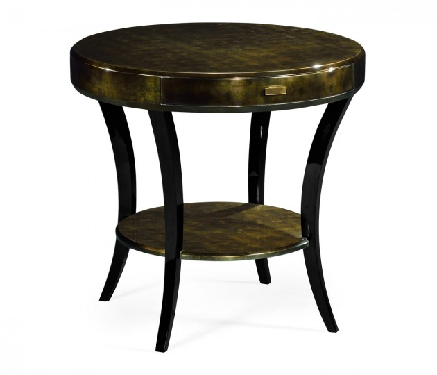 Dark Bronze Round Side Table with Drawer