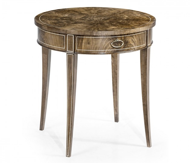 Round Bleached Walnut Side Table