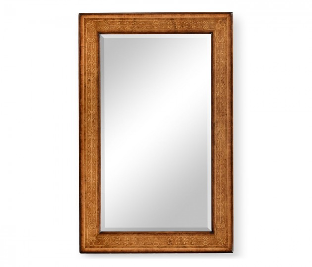 Rectangular burl walnut veneer mirror