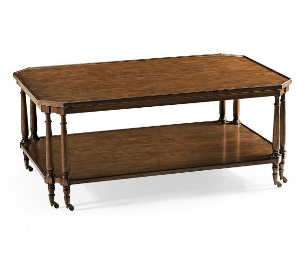 Rectangular Walnut Coffee Table on Castors