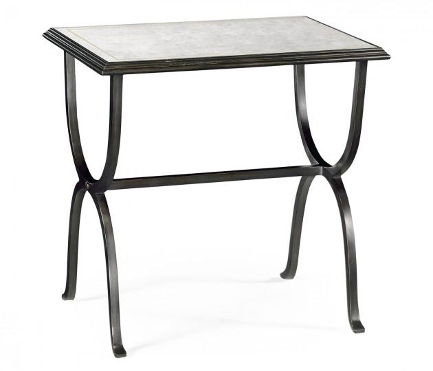 Églomisé & Bronze Iron Rectangular Side Table