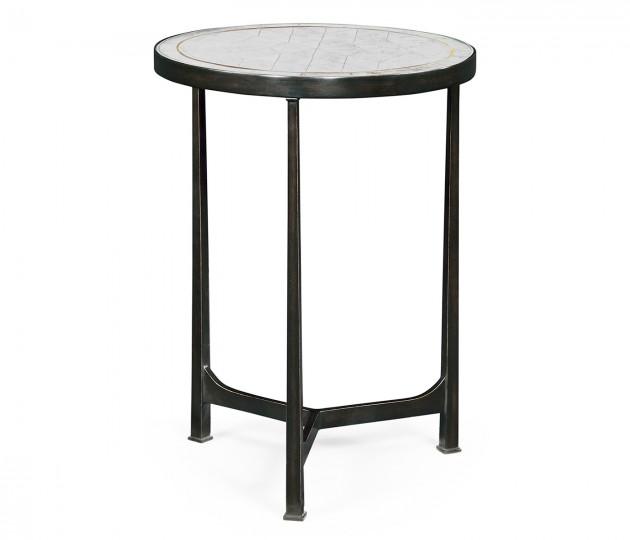 �glomis� & Bronze Iron Round Lamp Table