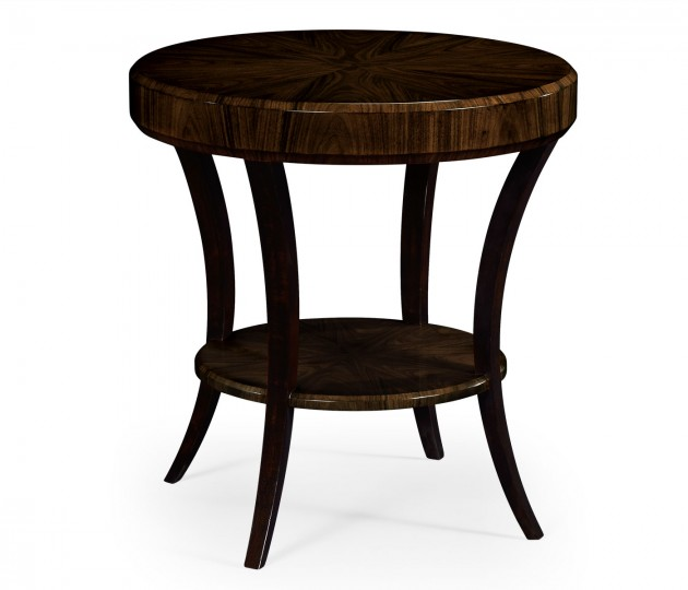 Round Art Deco Macassar Ebony High Lustre Side Table