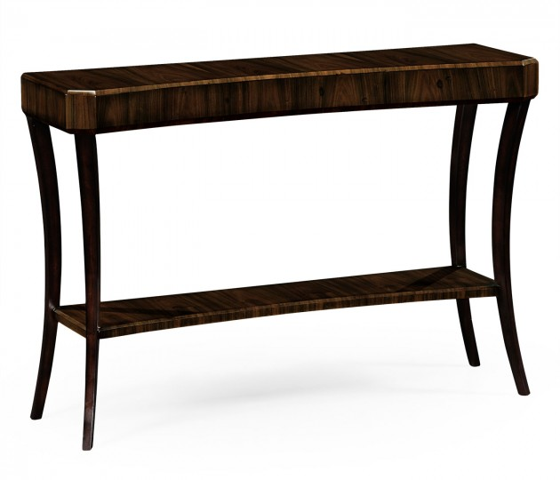 Rectangular Art Deco Macassar Ebony High Lustre Console Table
