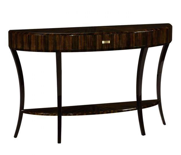 Large Demilune Art Deco Macassar Ebony High Lustre Console Table with Drawer