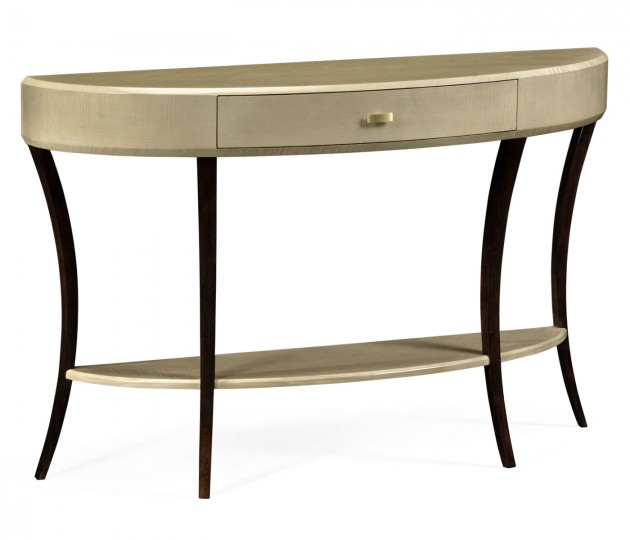 Art Deco Large Demilune Console Table with Drawer