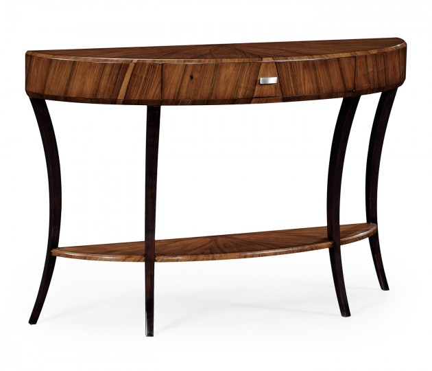 Art Deco large demilune console table with drawer and stainless steel handle (High lustre)