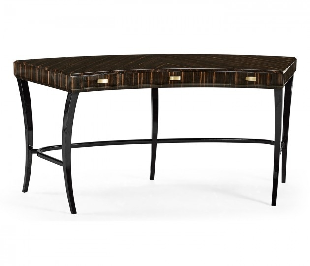 Curved Art Deco Macassar Ebony High Lustre Desk