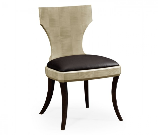 Art Deco High Lustre Klismos Chair in Dark Chocolate Leather
