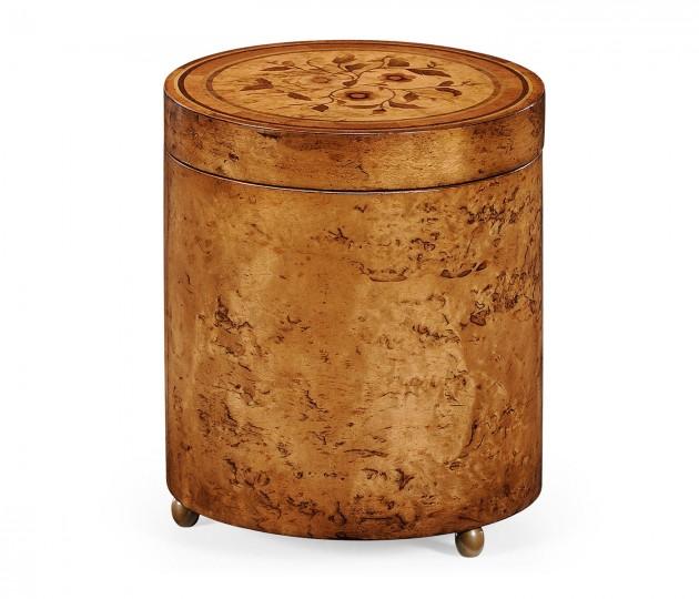 Cylindrical Burl Walnut Box