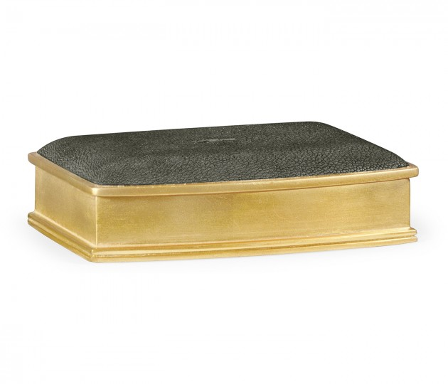 Anthracite faux shagreen gilded leaf box