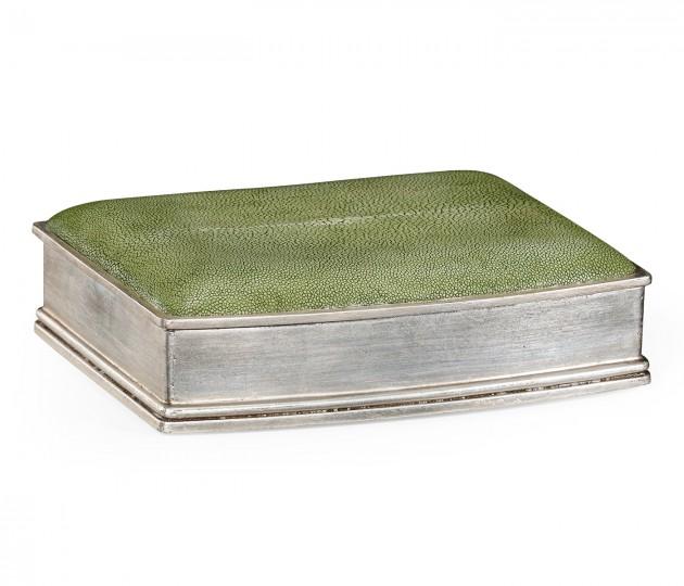 Green Faux Shagreen Silvered Box
