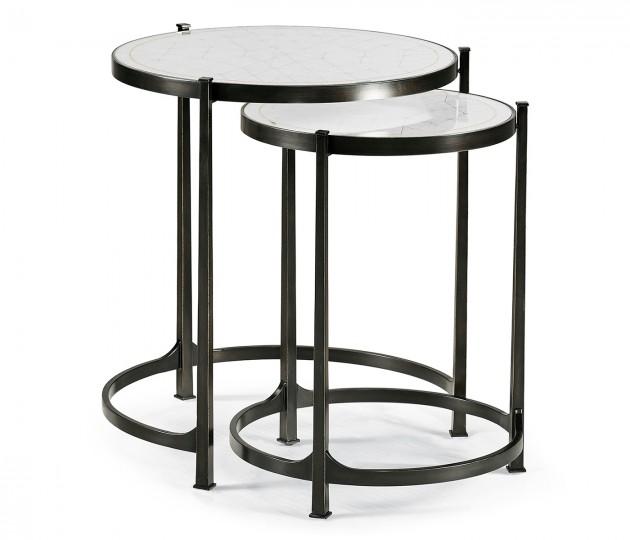 Églomisé & Bronze Iron Round Nest of Tables
