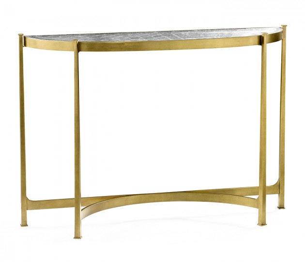 Large �glomis� & Gilded Iron Demilune Console