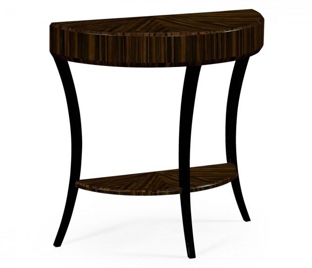 Small Demilune Art Deco Macassar Ebony High Lustre Console Table
