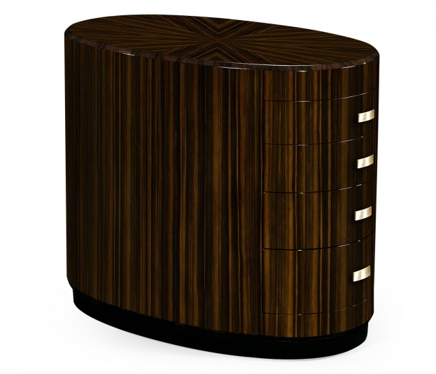 Oval Art Deco Macassar Ebony High Lustre Chest of Drawers