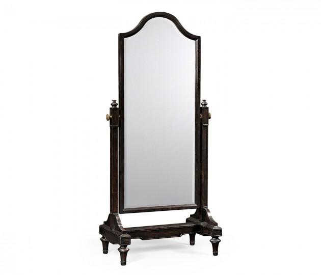 Ebonised cheval mirror (Full length)