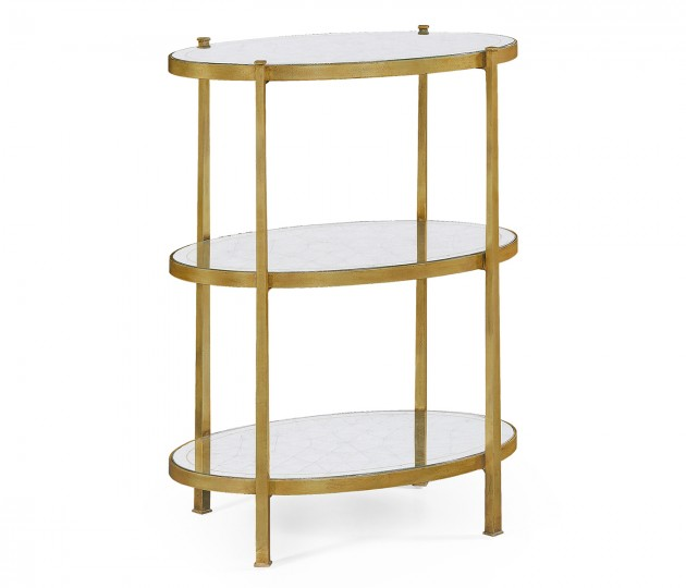Large �glomis� & Gilded Iron Three-Tier Table