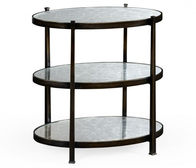 Small �glomis� & Bronze Iron Three-Tier Table
