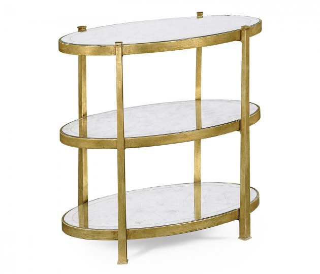 Small �glomis� & Gilded Iron Three-Tier Table