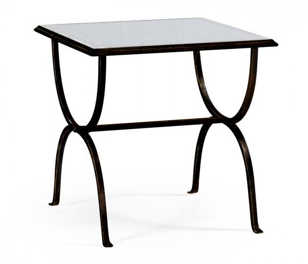 �glomis� & Bronze Iron Square Side Table