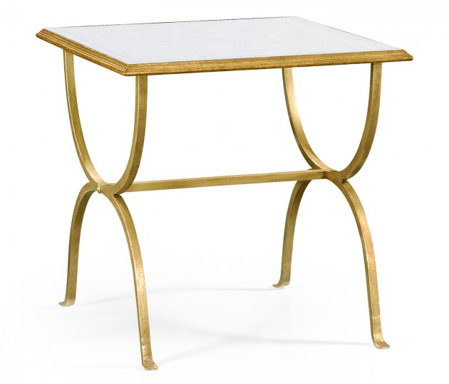 �glomis� & Gilded Iron Square Side Table