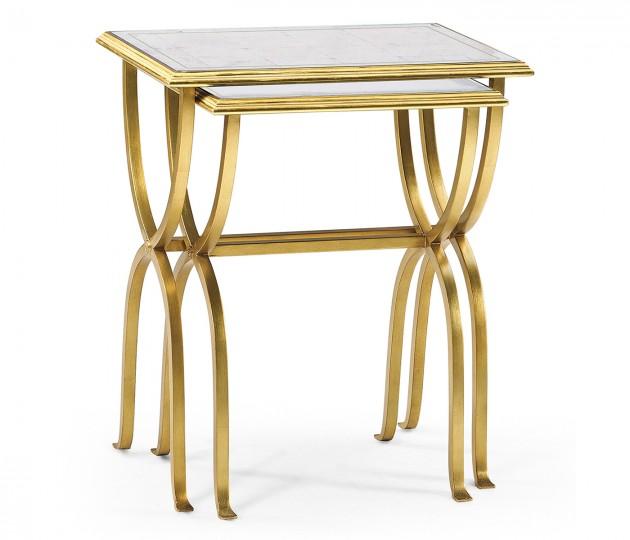Églomisé & Gilded Iron Nest of Tables