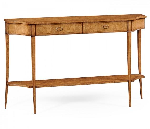 Large Biedermeier Light Walnut Masur Birch Console Table