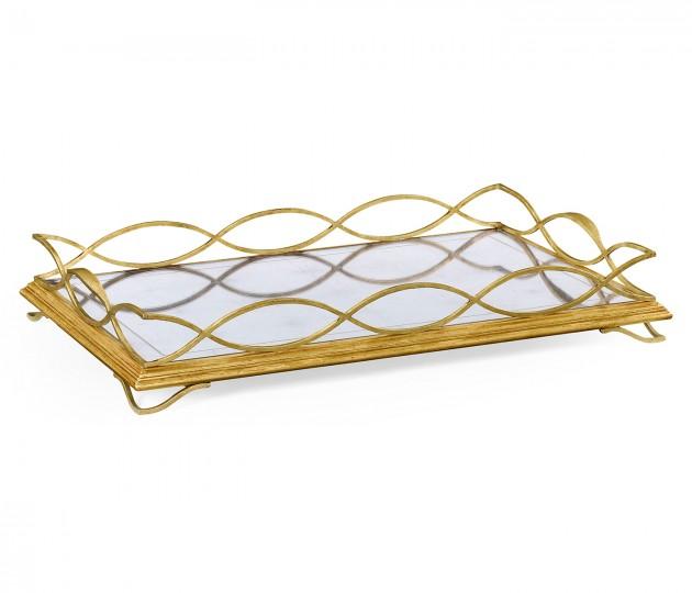 �glomis� & Gilded Iron Rectangular Tray