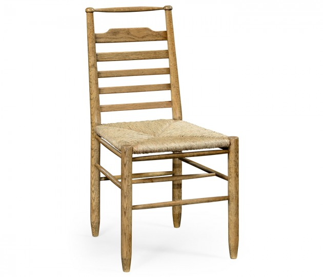 Natural Oak Ladder Back Country Side Chair with Rushed Seat