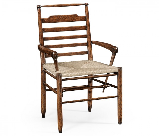 Dark Oak Ladder Back Country Arm Chair with A Rush Seat