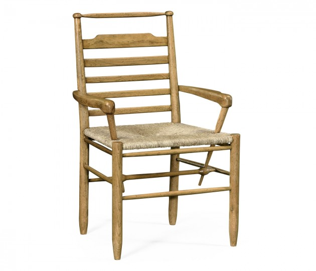 Natural Oak Ladder Back Country Arm Chair with A Rush Seat