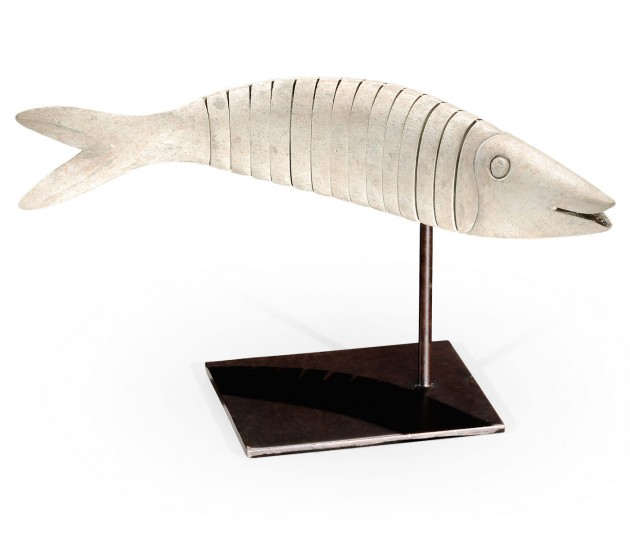 Articulated Dusty White Fish on Stand