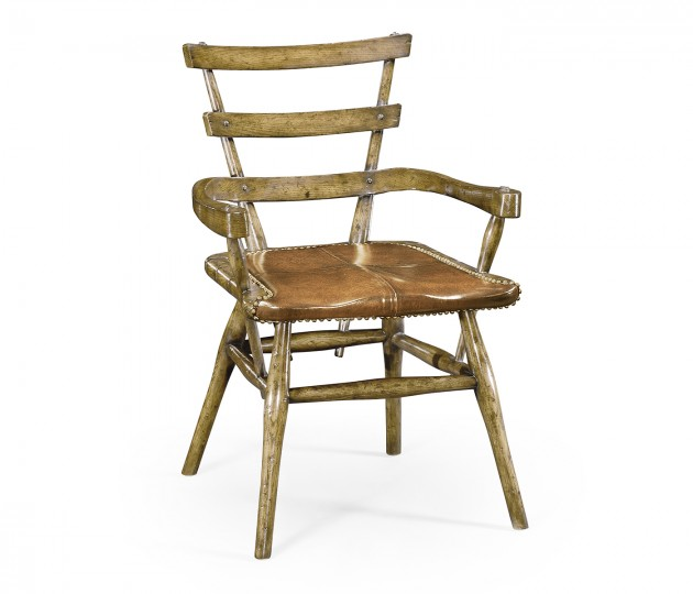 Country Style Natural Oak Armchair with an Antique Chestnut Leather Seat