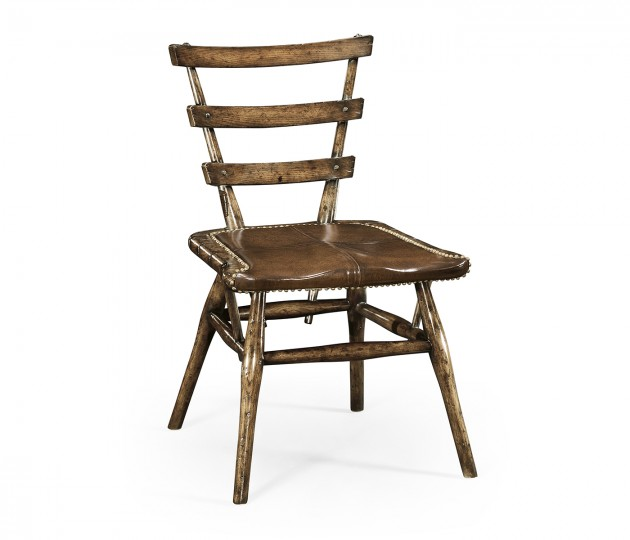 Country Style Dark Oak Side Chair with a Dark Antique Chestnut Leather Seat