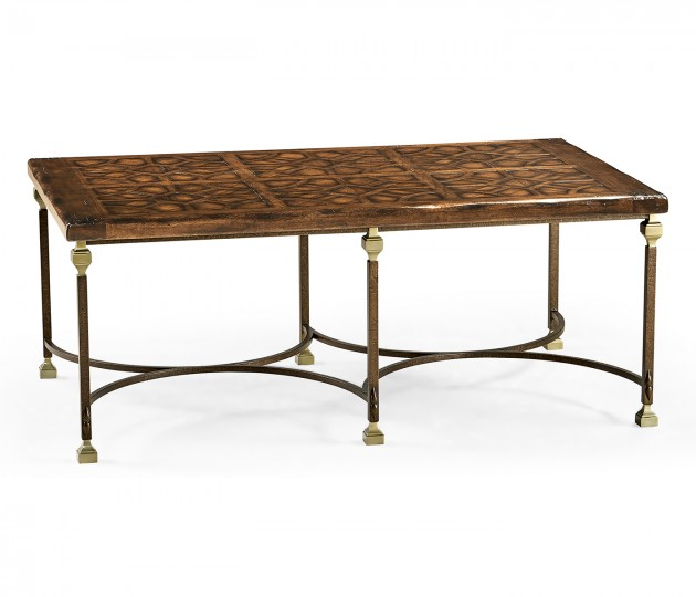 Argentinian Walnut Parquetry & Iron Coffee Table