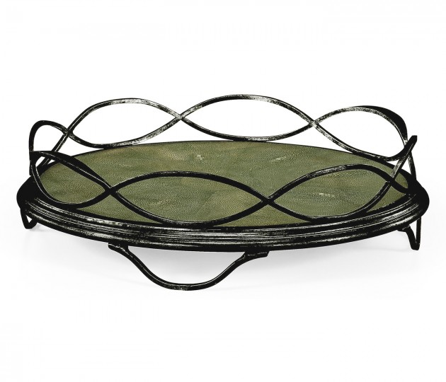 Green Faux Shagreen & Bronze Iron Circular Tray