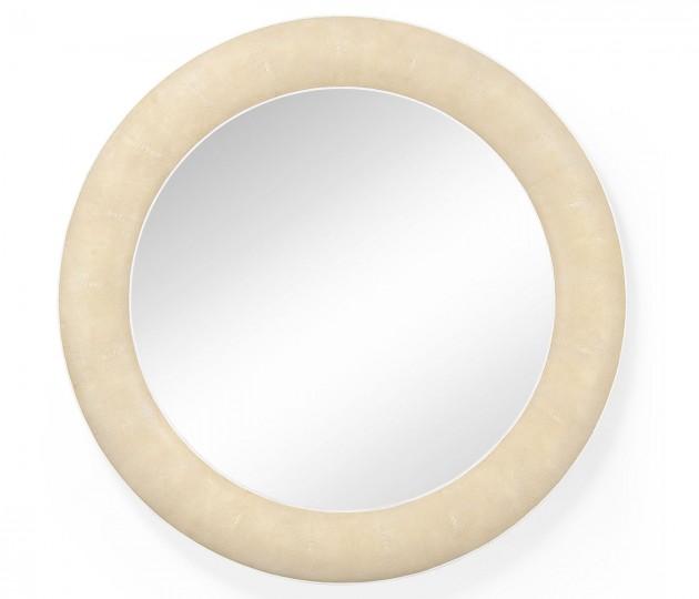 Cream Faux Shagreen Circular Mirror