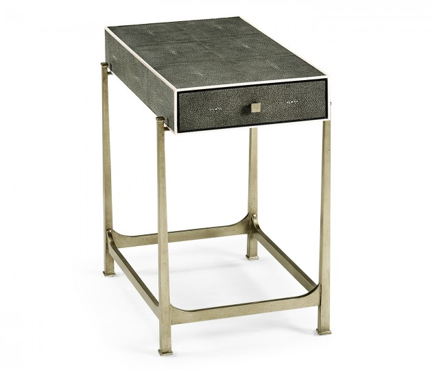 Anthracite Faux Shagreen & Silver Iron Side Table