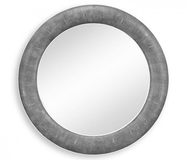 Anthracite Faux Shagreen Circular Mirror
