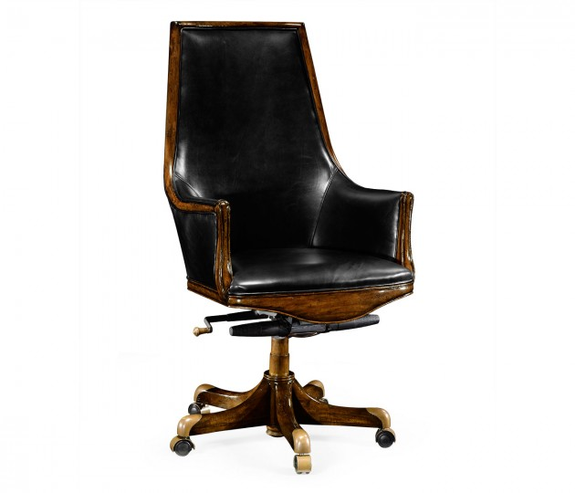 High Backed Walnut Office Chair, Upholstered in Black Leather